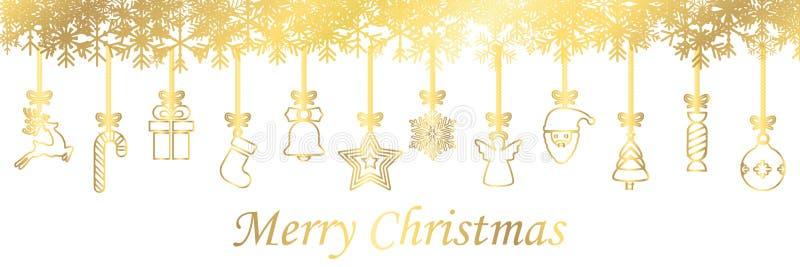 Banderas de diversos iconos colgantes de oro del símbolo de la Navidad, Feliz Navidad, Feliz Año Nuevo - vector ilustración del vector