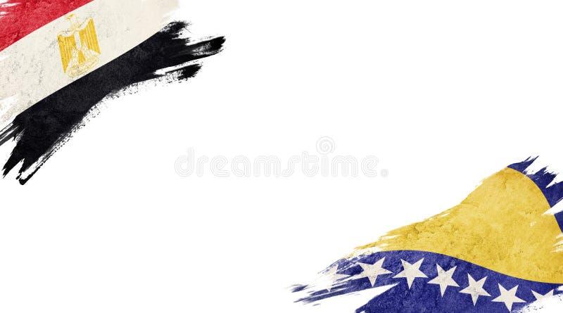 Banderas de Egipto y Bosnia y Herzegovina sobre fondo blanco imágenes de archivo libres de regalías