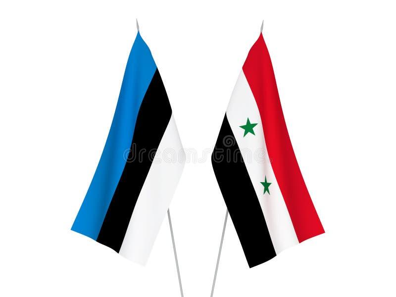 Banderas de Estonia y de Siria stock de ilustración