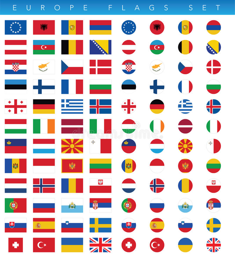 Banderas de Europa fijadas libre illustration