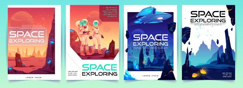 Banderas de exploración del espacio fijadas con el paisaje extranjero stock de ilustración