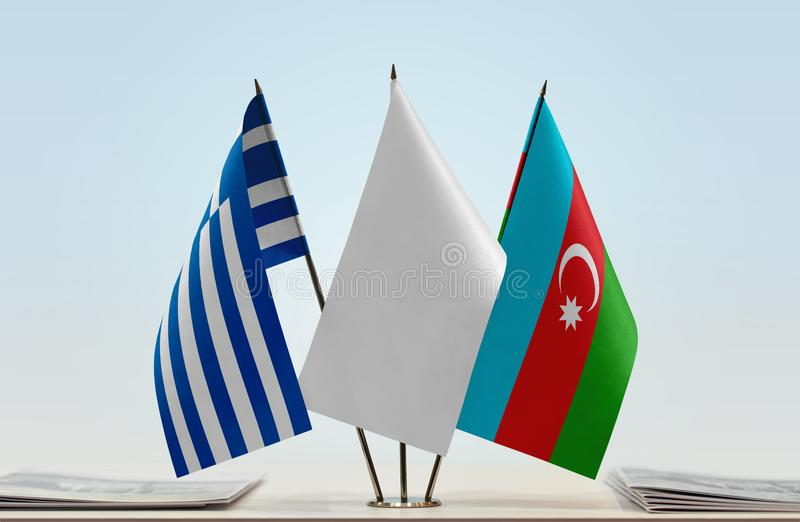 Banderas de Grecia y de Azerbaijan fotos de archivo libres de regalías