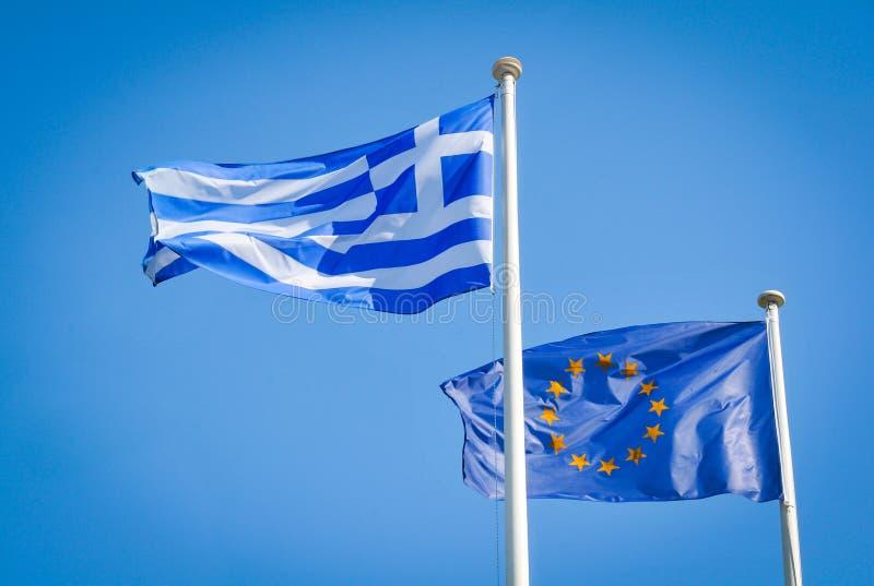 Banderas de Grecia y de unión europea foto de archivo libre de regalías