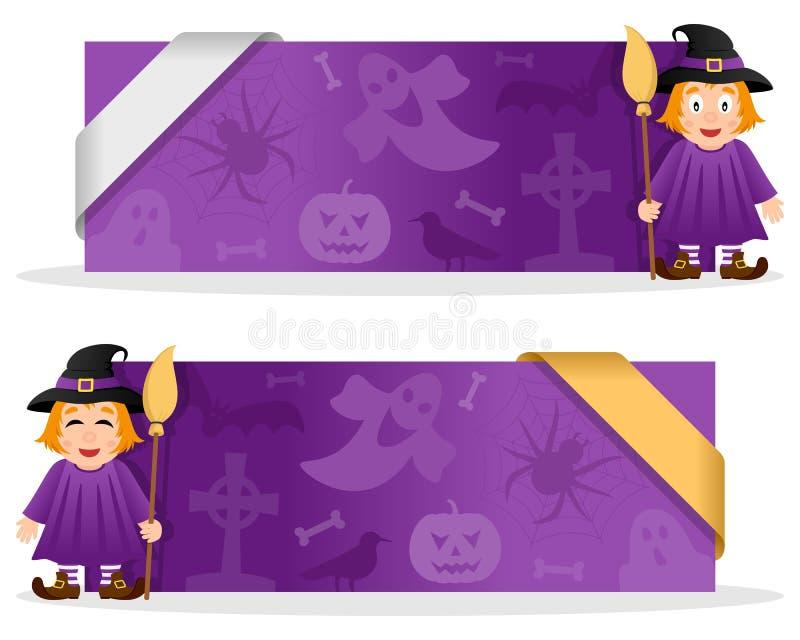 Banderas de Halloween con la bruja linda libre illustration