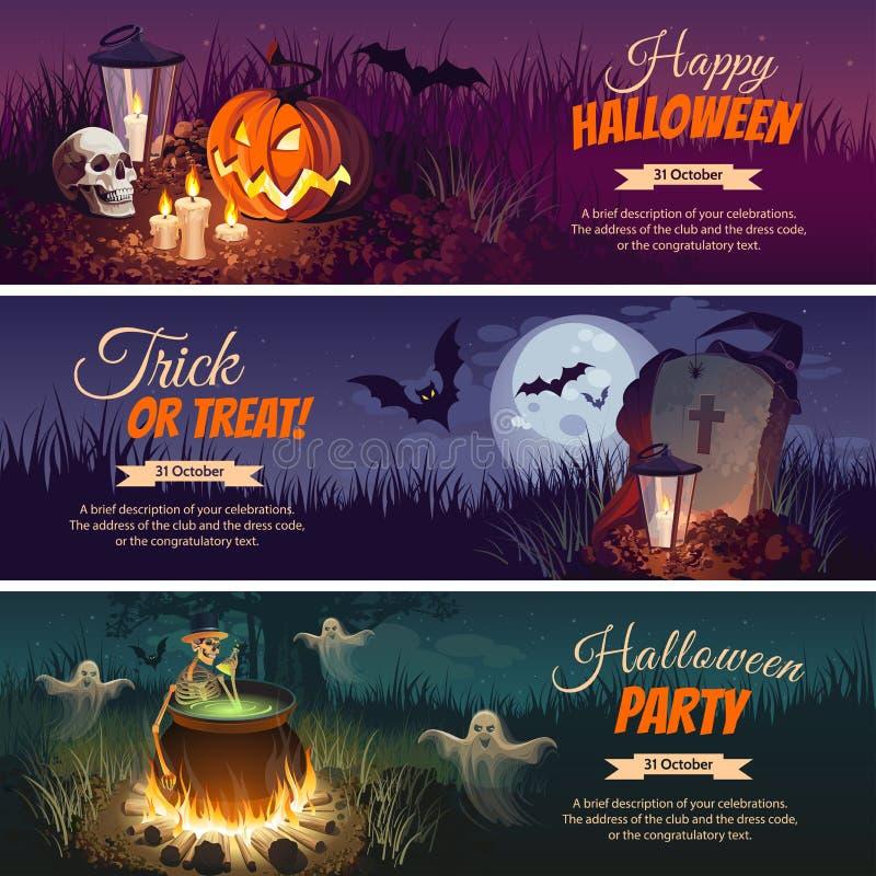 Banderas de Halloween con los caracteres en el fondo Paisaje del otoño de la noche ilustración del vector