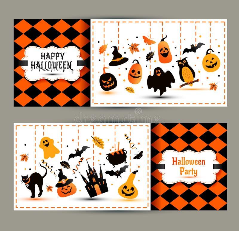 Banderas de Halloween fijadas en fondo de los colores Invitación a la noche ilustración del vector