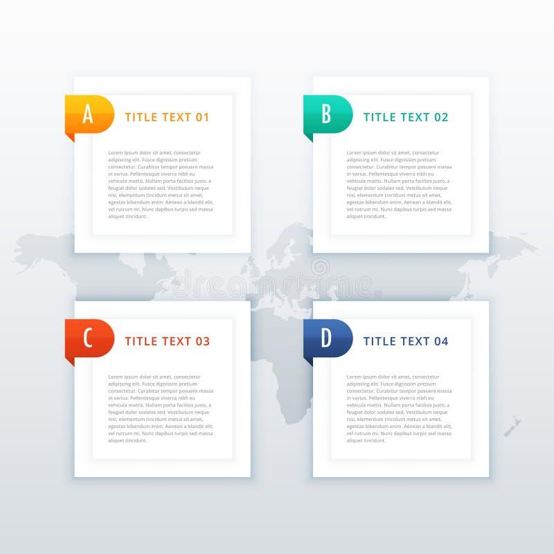 Banderas de Infographic con cuatro pasos stock de ilustración