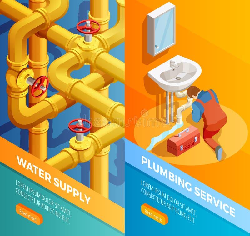 Banderas de Isomertic del servicio de la fontanería del abastecimiento de aguas stock de ilustración