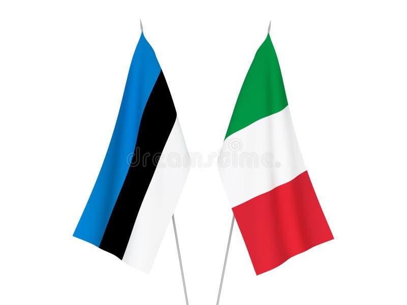 Banderas de Italia y de Estonia ilustración del vector