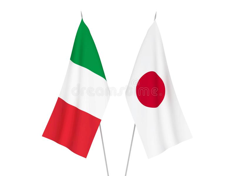 Banderas de Italia y de Japón stock de ilustración