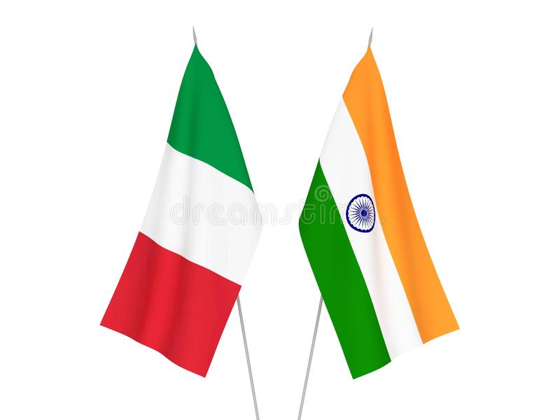 Banderas de Italia y de la India ilustración del vector