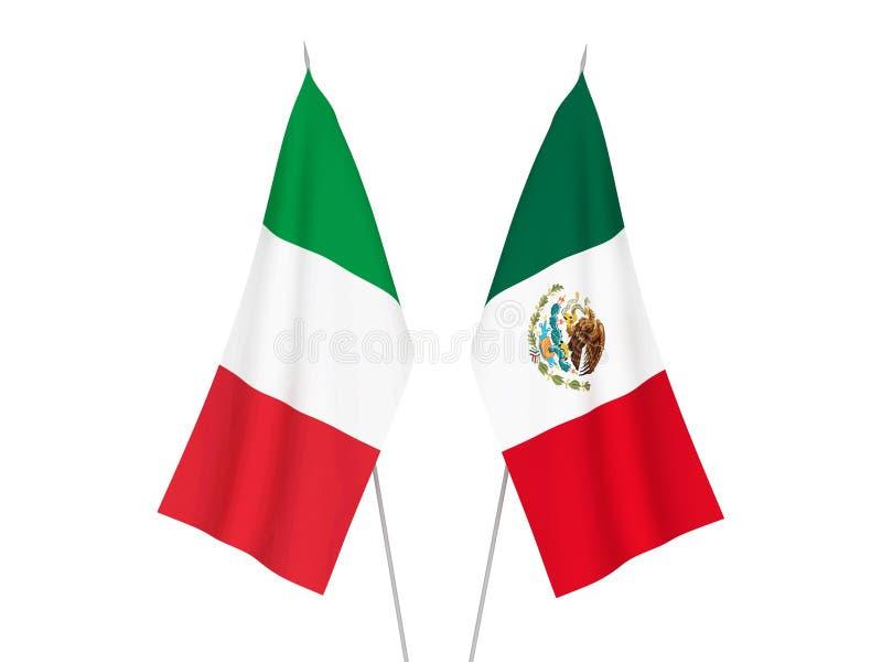 Banderas de Italia y de México ilustración del vector