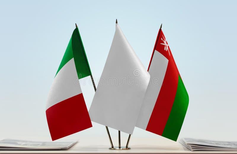 Banderas de Italia y de Omán ilustración del vector
