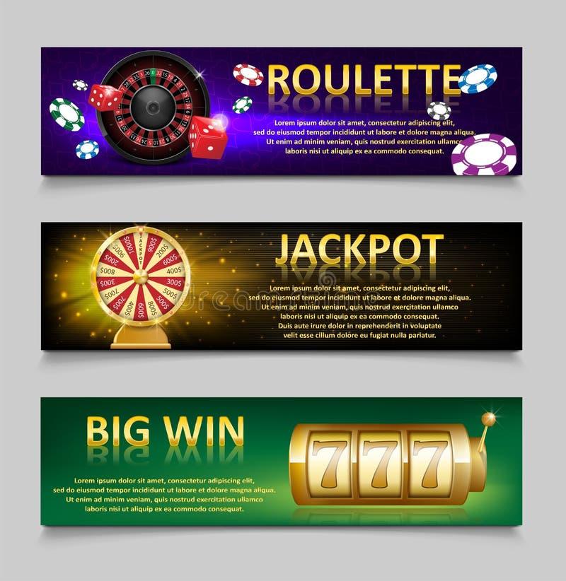 Banderas de juego con los microprocesadores de la rueda y del casino de ruleta, máquina de la lotería, sistema de rueda de la for ilustración del vector