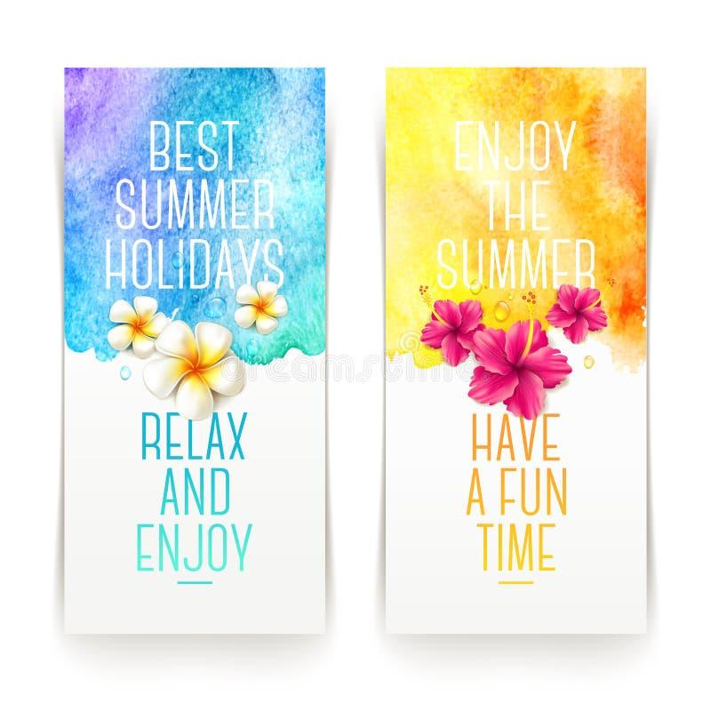 Banderas de la acuarela de las vacaciones de verano ilustración del vector