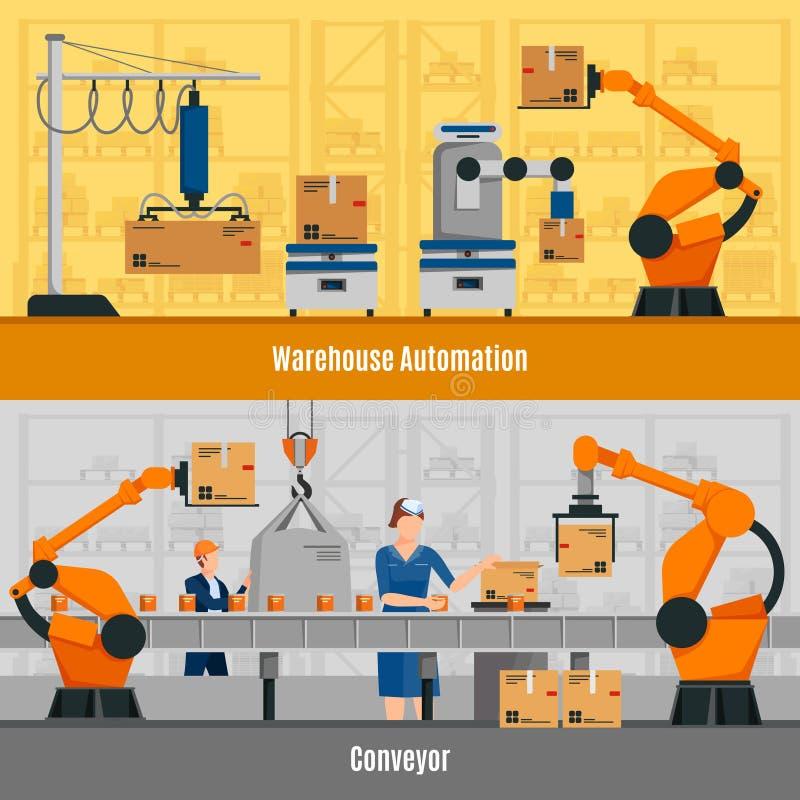 Banderas de la automatización de Warehouse fijadas stock de ilustración