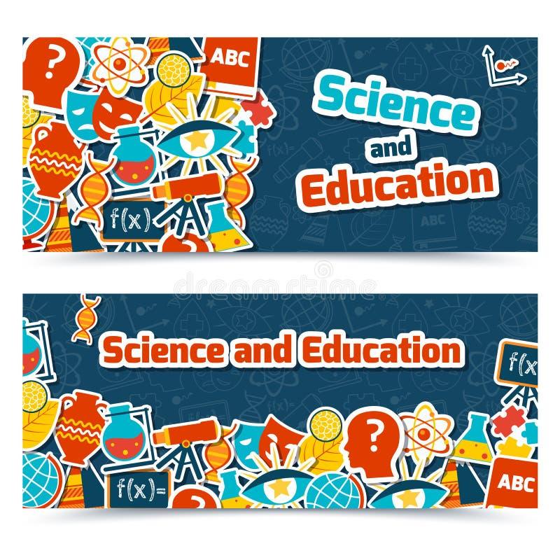Banderas de la ciencia de la educación ilustración del vector