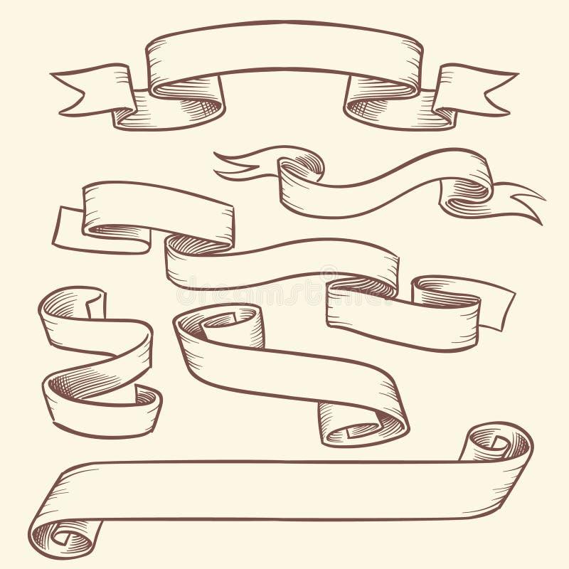 Banderas de la cinta de voluta del victorian del vintage, vieja sistema dibujado del vector de las etiquetas de la etiqueta mano  stock de ilustración
