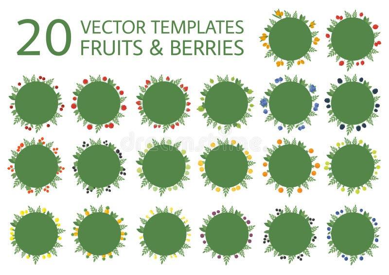 Banderas de la colección con las frutas en vector stock de ilustración