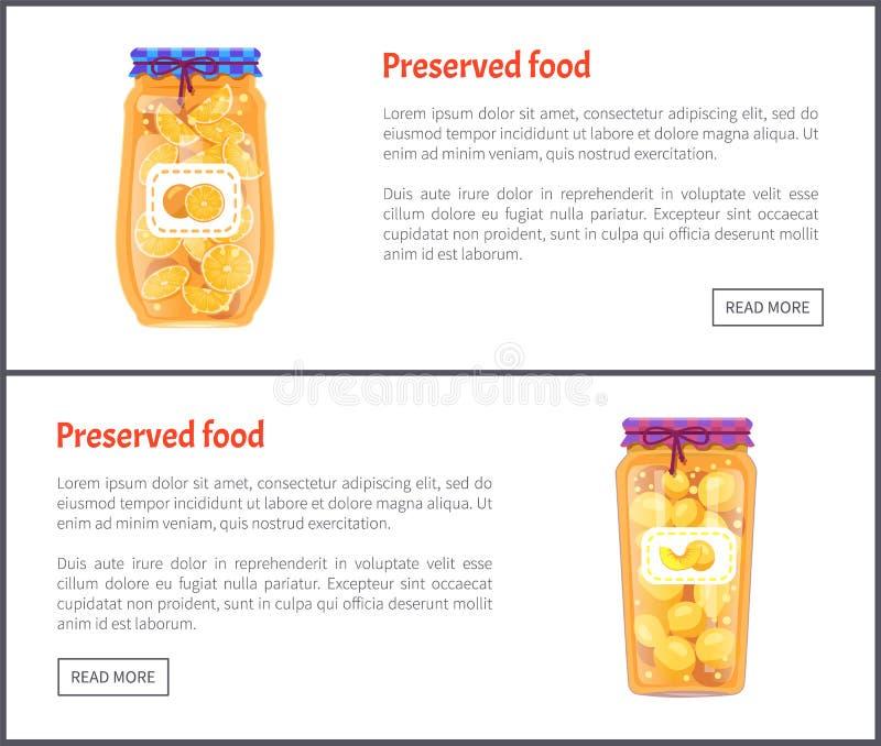 Banderas de la comida, atasco de la fruta o sistema preservado de la compota libre illustration