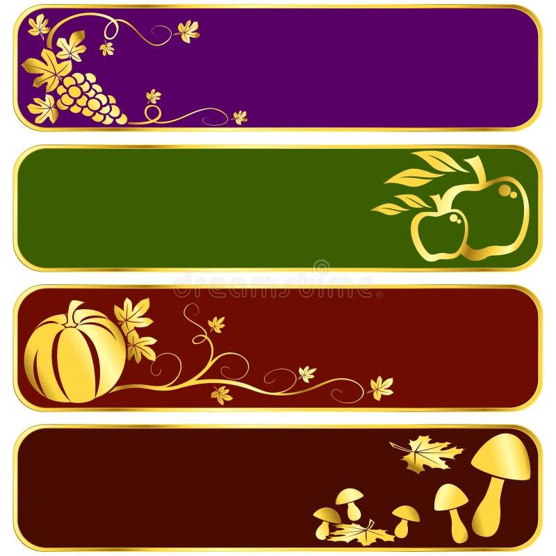 Banderas de la cosecha del oro stock de ilustración