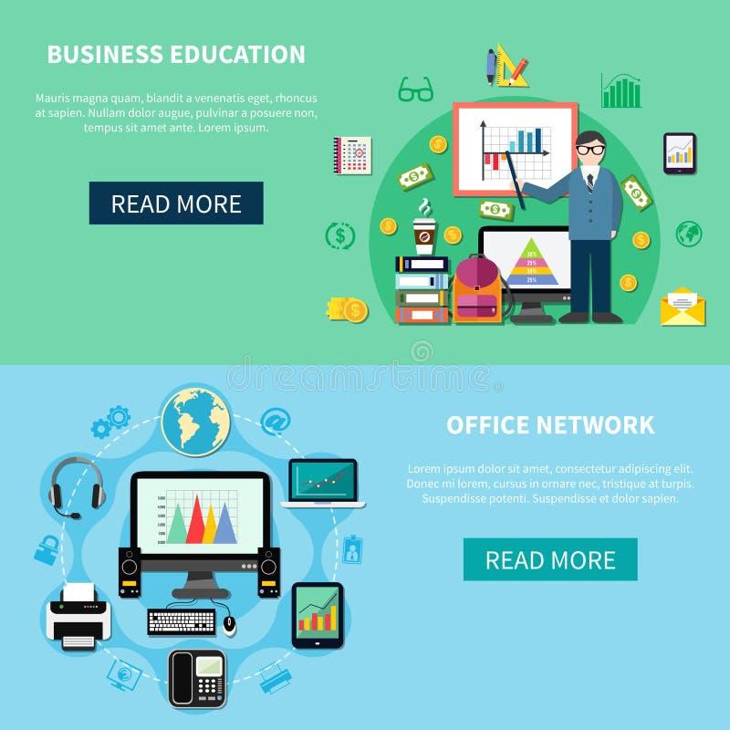 Banderas de la educación de la red y del negocio de la oficina stock de ilustración