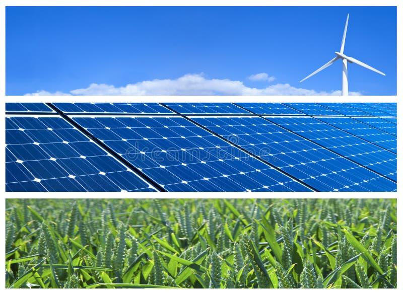 Banderas de la energía renovable fotografía de archivo libre de regalías