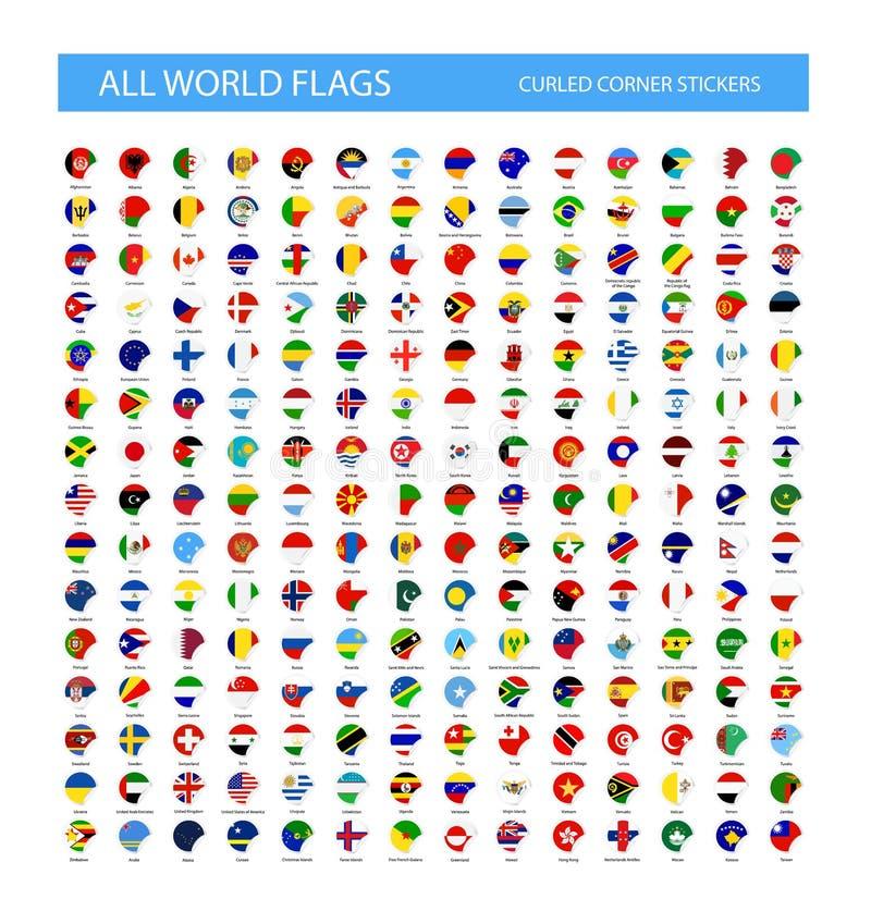 Banderas de la esquina encrespadas redondas del mundo libre illustration