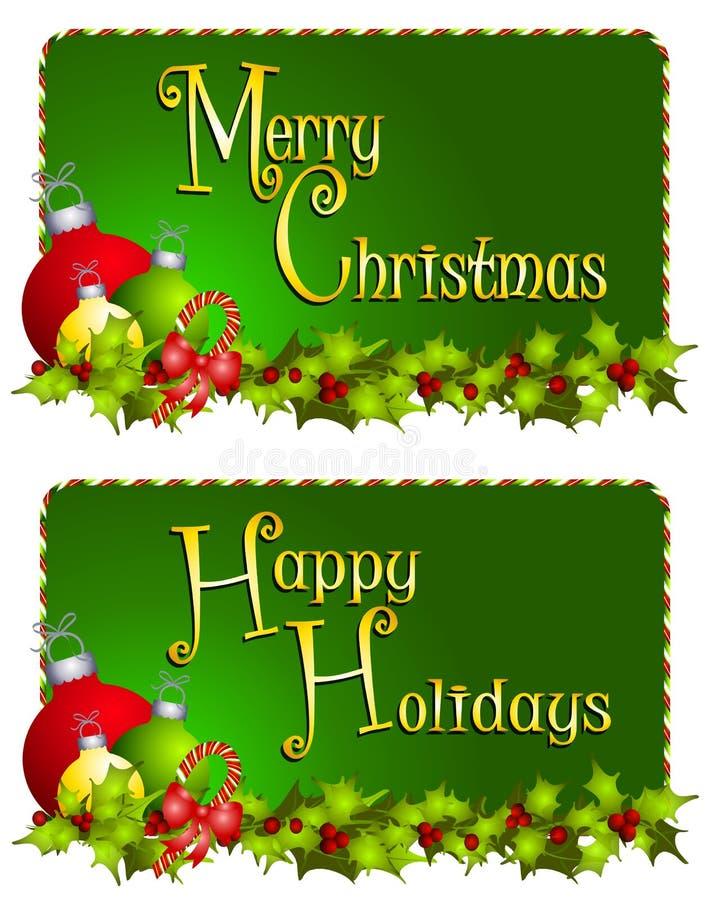 Banderas de la Feliz Navidad stock de ilustración