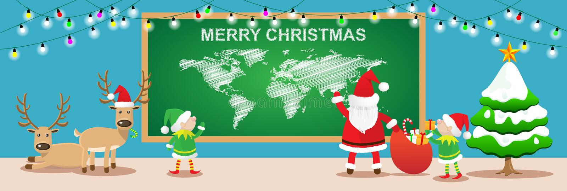 Banderas de la Feliz Navidad trabajo de Papá Noel y de los elfs en sitio de la Navidad foto de archivo libre de regalías