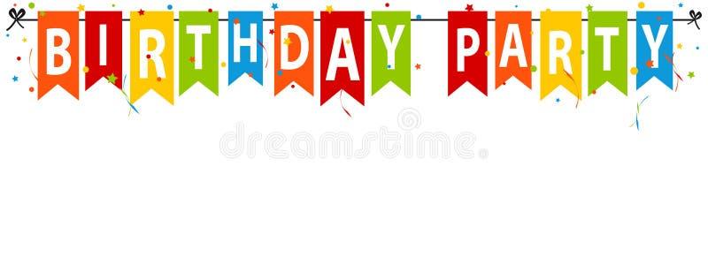 Banderas de la fiesta de cumpleaños con el confeti y las flámulas - ejemplo colorido del vector - aislados en el fondo blanco imagenes de archivo