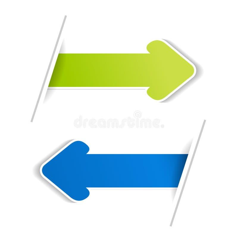 Banderas de la flecha Flecha verde y azul en el bacground blanco libre illustration