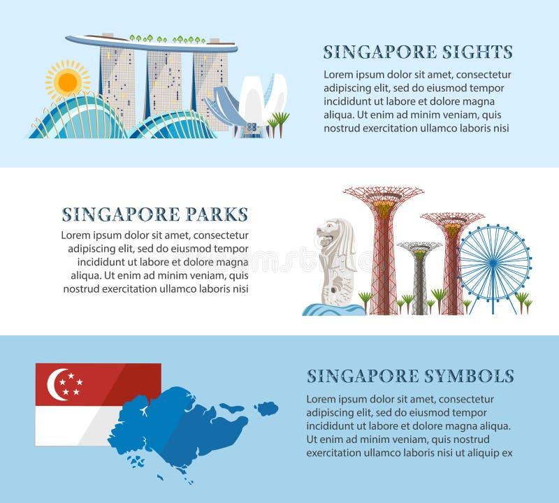 Banderas de la información de Singapur stock de ilustración