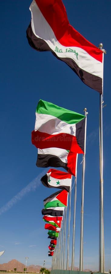 Banderas de la liga árabe imágenes de archivo libres de regalías