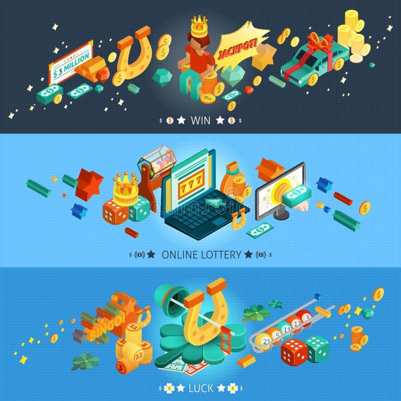 Banderas de la lotería fijadas stock de ilustración