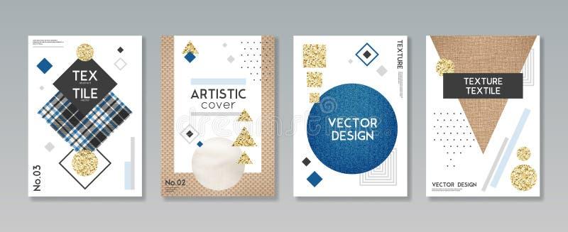 Banderas de la materia textil de la tela del paño fijadas ilustración del vector