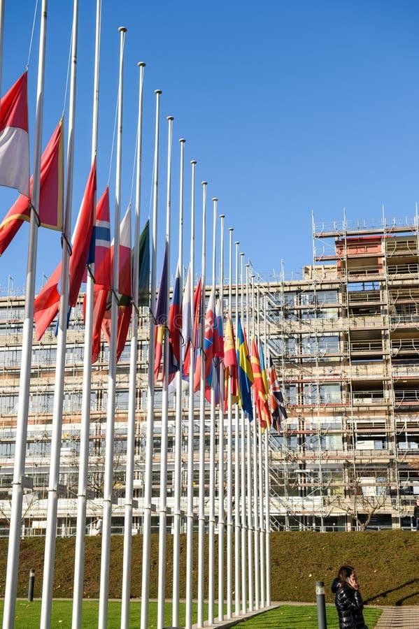 Banderas de la media asta de todos los países de la unión europea después de París imagen de archivo