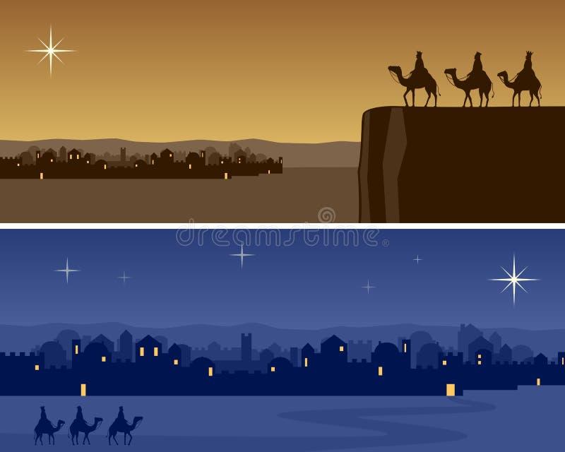 Banderas de la Navidad - Bethlehem stock de ilustración