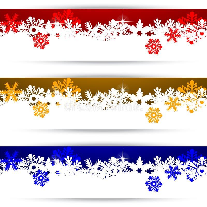 Banderas de la Navidad con los copos de nieve stock de ilustración