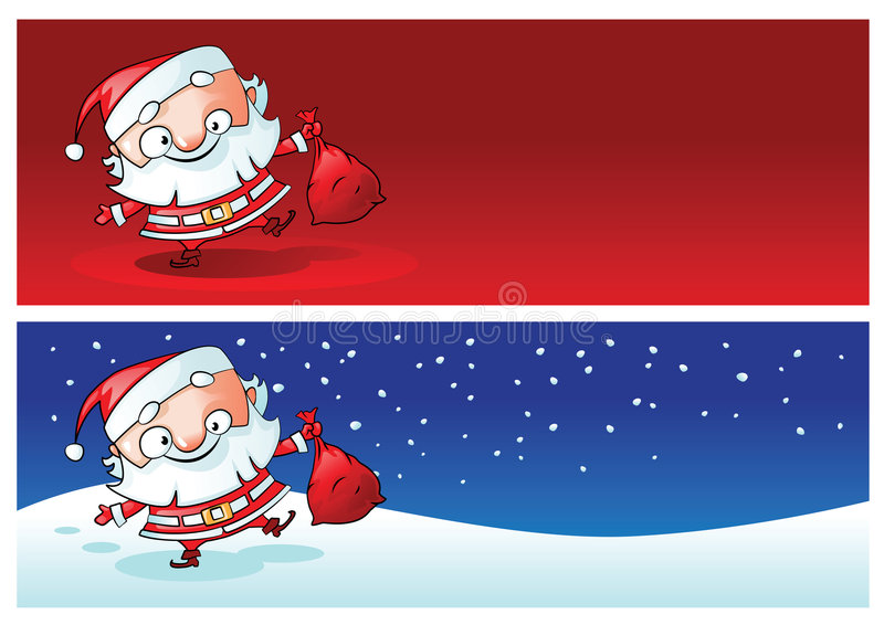 Banderas de la Navidad de Santa stock de ilustración