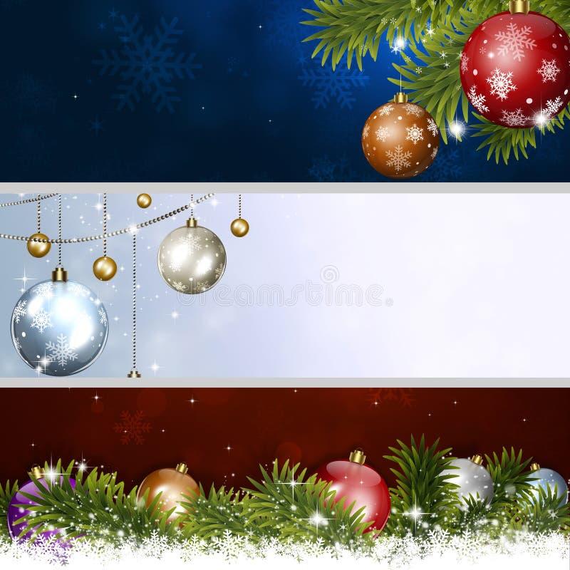 Banderas de la Navidad del día de fiesta stock de ilustración