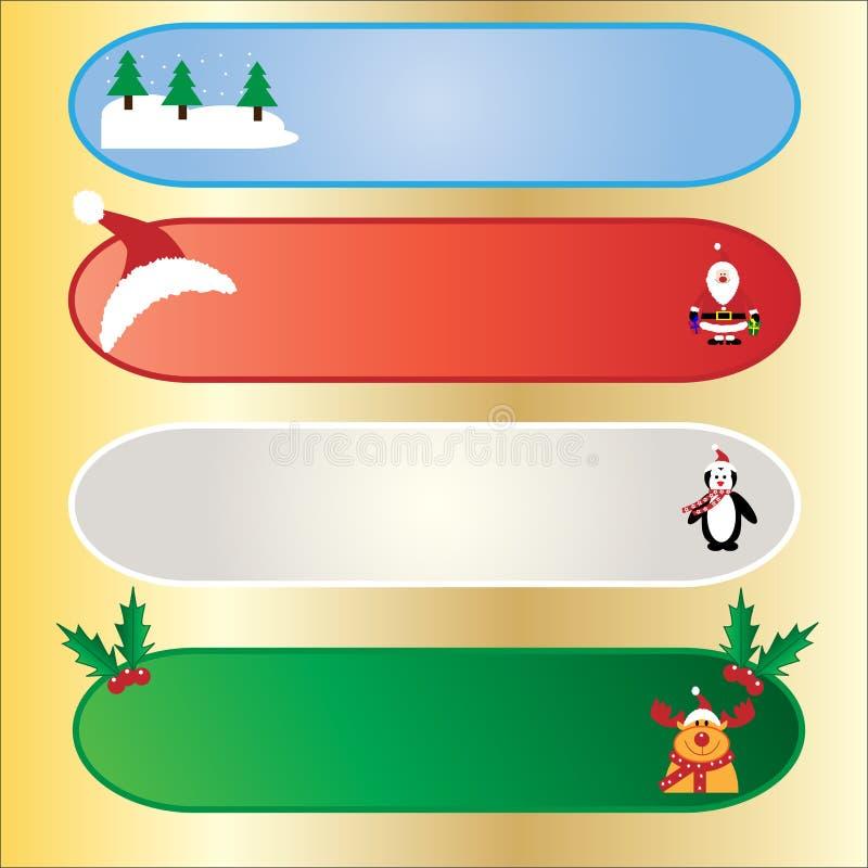 Banderas de la Navidad fijadas stock de ilustración