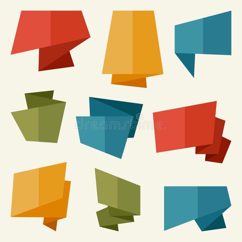 Banderas de la papiroflexia y burbujas del discurso en diseño plano ilustración del vector