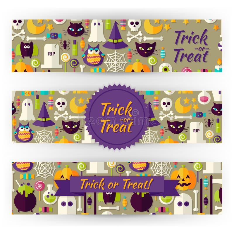 Banderas de la plantilla del vector del día de fiesta de Halloween fijadas en pocilga plana moderna ilustración del vector