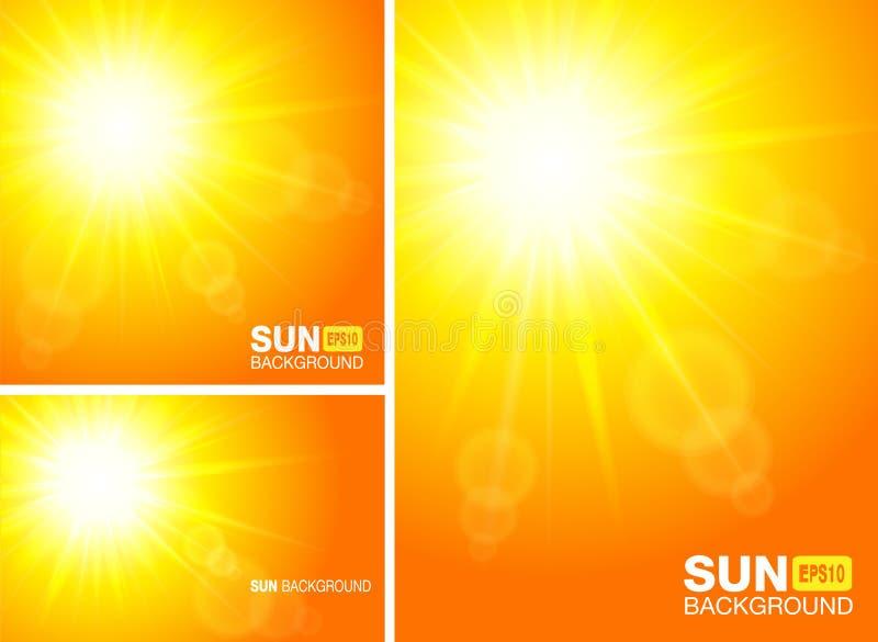 Banderas de la plantilla del verano Sun irradia fondos Sistema de contextos amarillos horizontales y verticales de la luz del sol ilustración del vector