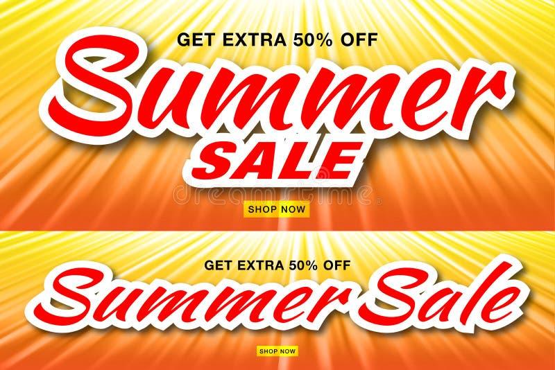 Banderas de la plantilla de la venta del verano con los rayos del sol Sistema de fondo horizontal de la naranja de la luz del sol stock de ilustración