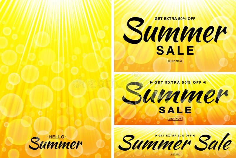 Banderas de la plantilla de la venta del verano Sun irradia fondos Contexto horizontal y vertical del resplandor de la luz del so stock de ilustración
