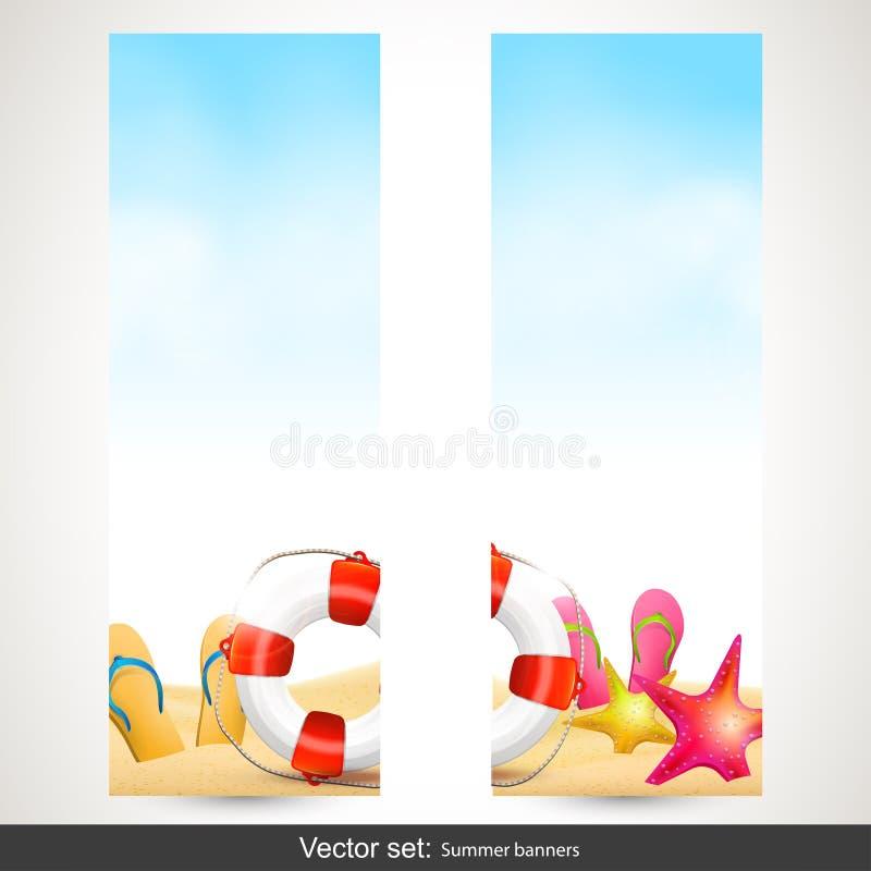 Banderas de la playa del verano ilustración del vector