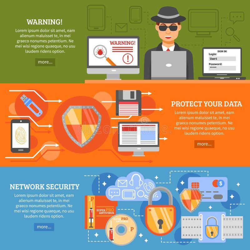 Banderas de la seguridad de la red stock de ilustración