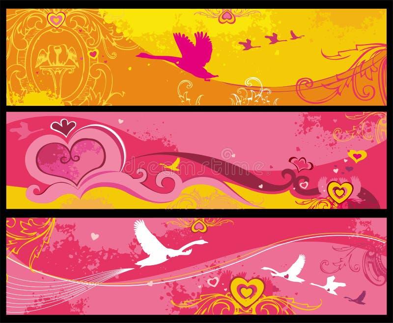 Banderas de la tarjeta del día de San Valentín libre illustration